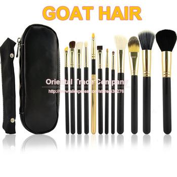 Профессиональные 12шт Face кисти для макияжа Набор Черная молния кожаная сумка составляют ...