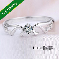 Sale Angel Wing Ring,925 Sterling Silver for Women Lady Jewelry, Royal Unique Simulated Diamond Crown Anel Bague Ring ULOVE J001