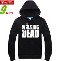 2014 The Walking Dead Thickening Coat Pullover Cotton Sweatshirt Hoodies Men Fashion Autumn Winter Spring Warm DIY Hoodies
