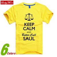 Funny Summer CALL SAUL KEEP CALM BREAKING BAD Man Short Sleeve Tshirts Fashion Brand Tshirt Mens 2014 New High Quality DIY Tops