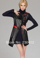2014Spring Fashion Women's Sheepskin Genuine Leather One-piece Slim Dress Slim Sleeveless Real Leather Basic Dress Women L2608
