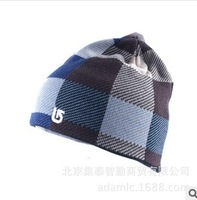Burton Men's fashion hats autumn and winter encryption knitted plaid hat outdoor skiing hat thermal lining woolen hats