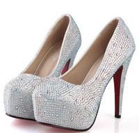 Larger size 42 14/CM prom heels wedding shoes women crystal genuine leather platforms silver rhinestone platform Women pumps 196