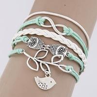 QQ Jewelry wholesale Leaves Owl 8 words multilayer Woven bracelet cxt9089