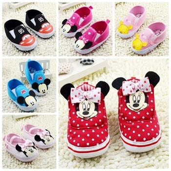 Младенцы девушка первые ходунки детская кровать в минни и котенок обувь мягкой подошвой ребенок обуви малыша обувь новорожденного свободного покроя младенцев обувь