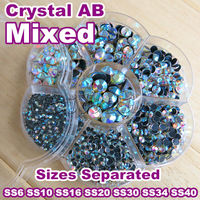 New ! Mixed Sizes With Box Packing ! 7 Sizes Crystal AB 1490pcs/Lot DMC HotFix  Rhinestones SS6 To SS40 Hot Fix Stones