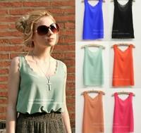 S-L15 Colors  New Hot Sale Women Ladies Sexy Lace Dress Chiffon Sleeveless Blouse Chiffon Shirt  Loose Blouse Retail/Wholesale