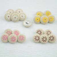100 pieces 17MM linen fabric covered  buttons daisy assorted  vintage button for craft  scrapbooking sewing accessories W2D4-1