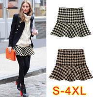 New 2014 saia  femininas skirt  fashion all-match houndstooth bust Short skirts ruffle fish tail skirts womens