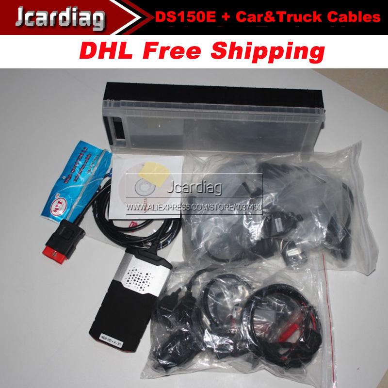 Le prix de promotion 2014 ds150e cdp plus pro outil de diagnostic avec le bluetooth + câbles camion + téléphérique avec dhl livraison gratuite