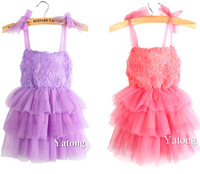 spring New Girls kids Dress purple Wedding formal Flower Girl Bridesmaid Party Occasion tutu dress 2-7YS Free Shipping