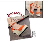 New arrival 2014 platform woman  wedges candy color flock sandals open toe platform   summer rope pumps shoes