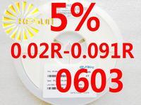 5000PCS 0603 Resistor 0.02R - 0.091R 5% 1/10W SMD Resistor 0603 Chip Resistors