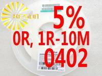 10000PCS 0402 Resistor 0R , 1R - 10M 5% 1/16W SMD Resistor 0402 Chip Resistors