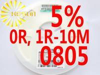 5000PCS 0805 Resistor 0R , 1R - 10M  5% 1/8W SMD Resistor 0805 Chip Resistors