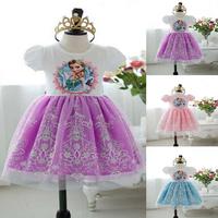 New Retail 2-7yrs Girls' Frozen Dress kid's 2014 cartoon summer dress girl's tutu princess dress lovable clothing