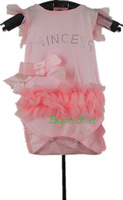 100% Cotton Lovely Pink Princess Baby Rompers 3-9M Summer Jumpsuit Free Shipping