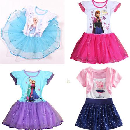 Girls dresses Frozen Peppa Pig Retail 2014 New Arrival Minnie bow girl dress,children dress,kids dress summer(China (Mainland))