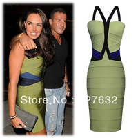 Free Shipping Green color  long sleeves Sexy off collar  dress  Women Sex and beautiful  bandage dress GB001