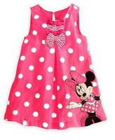 QZ-544 Fashion girls summer dresses designer Minnie Mouse bow pink baby dress children skirt 5pcs/lot free shipping wholesale