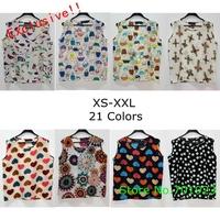 Exclusive! S-L,21 Colors! 2014 New Fashion Hot Sale Women Casual Sleeveless Print Chiffon Blouse Shirt, A1222