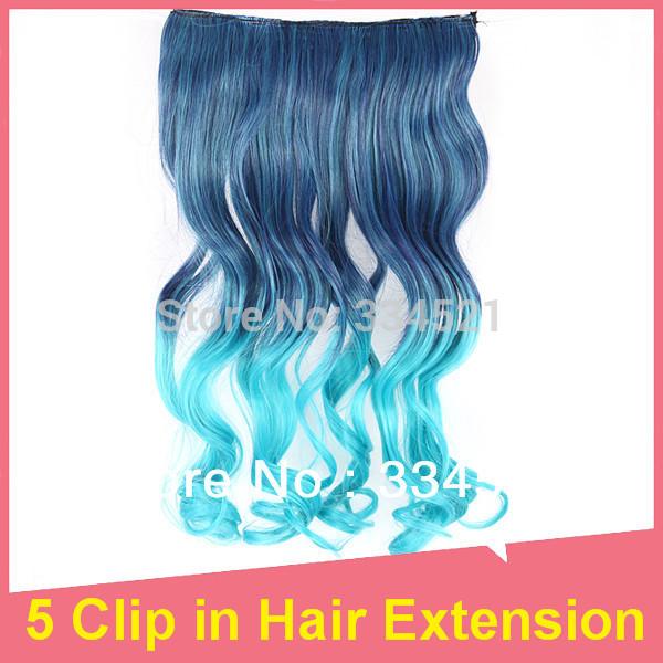 Extensão bonito cabelo encaracolado sintético macio pedaço de cabelo 5 Clipe de pavão verde em cores de alta qualidade(China (Mainland))