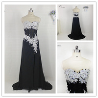 New Sweetheart Floor Length Off Shoulder Sleeveless Chiffon Beaded Sequined A-Line Court Train Female Long Evening Dresses 2015