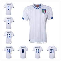 2014 World Cup Italy away white Jerseys Soccer Uniform balotelli  pirlo totti de rossi CHIELLINI EL SHAARAWY MARCHISIO MONTOLIVO