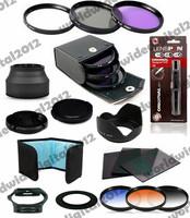 62MM UV CPL Filter Kit + Reversible Petal Flower Lens Hood  + Cleaning Kit  + Graduated Filter Set for any 62 mm lens DSLR F10