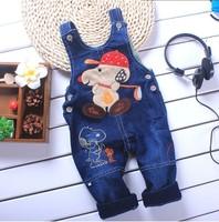 Wholesale 3 pieces /lot characten design kids jumpsuit  baby overalls jeans children's pants free shipping