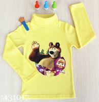 Retail Masha and Bear boy and girl long sleeve T-shirt 2-10age children fashion Masha cartoon clothes ZL2014-4