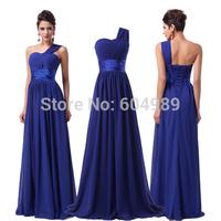 2015 Grace Karin Women Royal Blue Evening Dress Full Length Chiffon One Shoulder Cheap Prom Long Formal Dress Party Gown 6022
