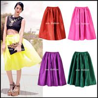 2014  New High Waist Vinatge Style Neon Color Midi Pleated Skater Skirt  Length60cm / 80cm
