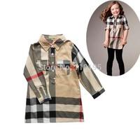 Hot sale brand design girls clothing sets long/full sleeve shirt+pants kids cotton plaid sets children spring autumn free shp
