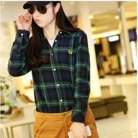 Free ship new 2014 women fashion autumn winter 100% cotton Plaid shirt slim long-sleeve thick Students to wear basic shirt YU837
