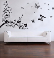 Trees and Butterfly Vinyl Wall Stickers Black Butterfly Home Decoration Wall Decals for Kids Nursery Living Rooms Free Shipping