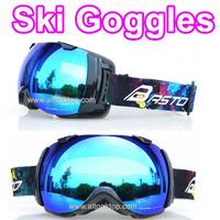 Double lens motocross spherical blue ski goggles winter skiing glasses men snowmobile snow goggle snowboard ski googles eyewear