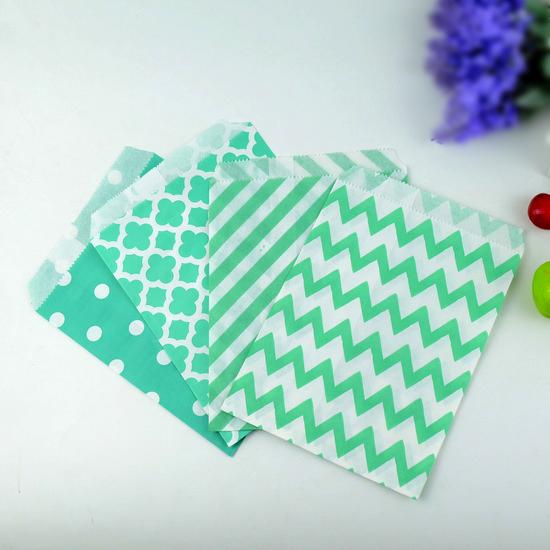 Chevron Polka Dot Stripe Goodie Favor Paper Bags as Wedding Partyware, Aqua, 5 * 7 Inch, Teal,100 pcs/lot(China (Mainland))