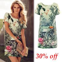 New 2014 European Style Women Summer Dress Chiffon Flamingo Birds Landscape Flower Print Ladies Elegant Knee-length Casual Dress