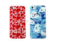 Latest version elegant blue Rose Flower & lovely red heart design Hard embossed Case for iPhone 5 case  & for iphone 5S