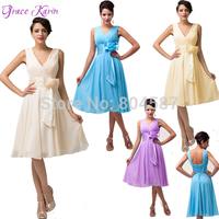 Elegant Grace Karin A-line V-Neck Chiffon Vestido Noite Curto Wedding Party Dinner Short Ball Prom Formal Evening Dresses CL6015
