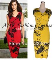 New Fashion Elegant Summer Autumn V-neck Sleeveless Knee-length   Shift Pencil Bodycon Party Cocktail Women Print Dresses