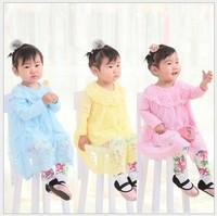 HB361 Spring autumn sweet delicate lace gauze large lapel girl blouses shirt,crochet skirt female child basic shirt, honey baby