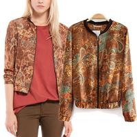 2014 wholesale newest fashion women vintage floral phoenix print slim jacket lady punk zipper cardigan outerwear gothic coat