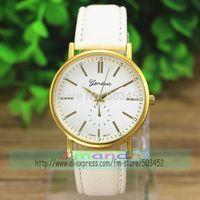 100pcs/lot GENEVA Brand Fashion Ladies Leather Watch Roman Number Quartz Dress Watch New Arrival PU Leather Wristwatch 4Colors