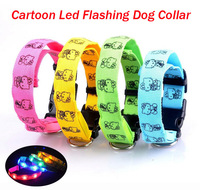 Free Shipping 10pcs/lot Nylon Cartoon Kitty Style Flashing Dog Collar, LED Pet Flashing Collar, 28-40cm Length Adjustable.