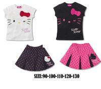 New 2014 girls clothing set summer hello kitty set short sleeve sleeve + dress 2pcs/set white rose color free shipping brand