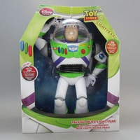 New Orignal Toy Story 3 Buzz Lightyear light year 30cm PVC toys Spanish English 2 in 1 sound elastic wings Packed toy