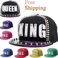 snapbacks hip hop snapback caps new fashion acrylic king letter snapback hats for women brand men spiked rivets baseball cap