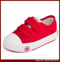 2014 spring child Girls  Boys canvas shoes Velcro  solid 5 colors size 23-37 children shoes sneakers BY0070